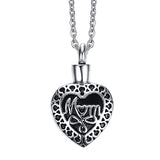 Mom Cremation Keepsake Memorial Urn Heart Shape Fashion Pendant Necklace