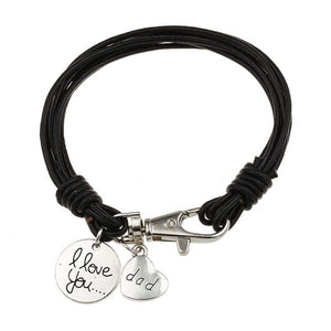 MJARTORIA 1PC Heart Charm Bracelet Carved Dad Love Message Fit Fathers' Day Love Gifts Leather Bracelets Jewlery For Father