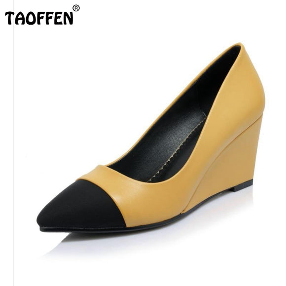 Women High Heels Plus Size 32-42 Sexy Office Pointed Toe Wedges Shoes Slip-on Women Pumps Fashion Mixed Color Ladies Shoes