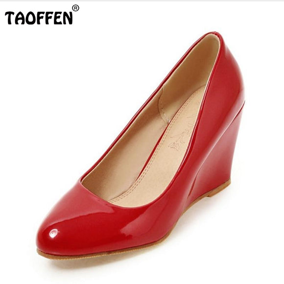 TAOFFEN Size 33-43 Women Wedges Shoes Pointed Toe Patent Leather Pumps Pure Color Shoes Women Daily Leisure Heeled Footwear