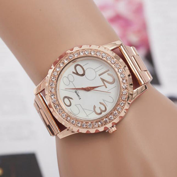 Fashion Luxury Women's Men's Crystal Rhinestone Alloy relogio feminino Analog Quartz quartz watch rose gold Wrist Watch