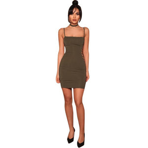 Hollow Out Sexy Summer Dress Womens Solid Choker Wrap Over Sleeveless Bandage Bodycon Party Pencil Dress