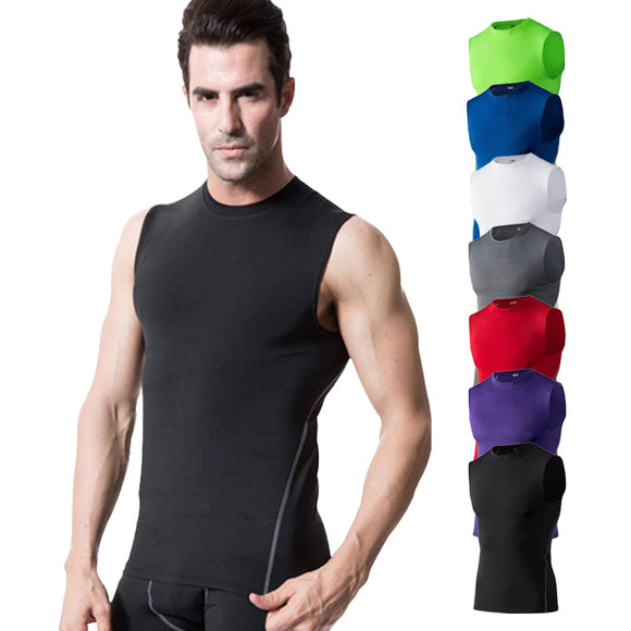 Men GYM vest Sport clothing no sleeve shirt fitness tights quick dry tee sleeve t shirt Summer Men tee tops clothing S-XXL