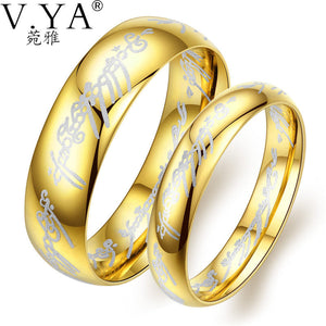 V.YA Romantic Stainless Steel Rings for Women/ Men Gold Color Wedding Band Anniversary Day's Couple Jewelry Rings Drop Ship