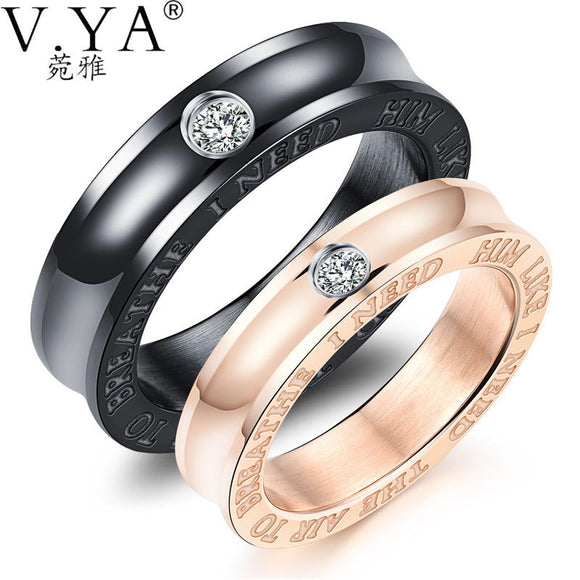 V.YA Fashion Lovers Wedding Band Black & Rose Gold Color Stainless Steel Rings With Cubic Zirconia Couple Jewelry Charm Dropship