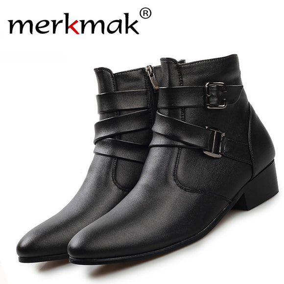 New 2017 british style casual men autumn ankle boots heels fashion pointed toe Martin Boots Men Leather Boots Shoes men LS129