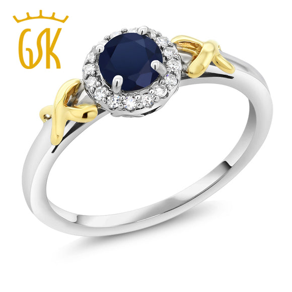 GemStoneKing 0.60 Ct Round Natural Blue Sapphire 10K Two-Tone Gold Ring For Women with Accent Diamonds Wedding Ring