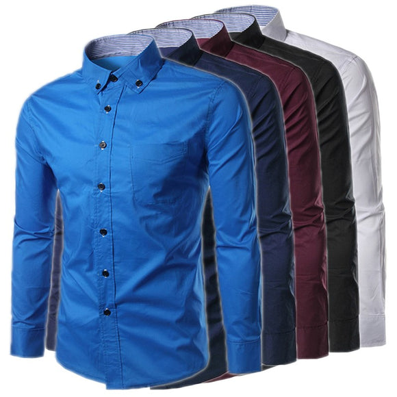 2017 Fashion Men's Shirt Spring Autumn Men Turn-down Collar Long Sleeve Slim Fit Dress Shirts Male Casual Solid Tops Camiseta
