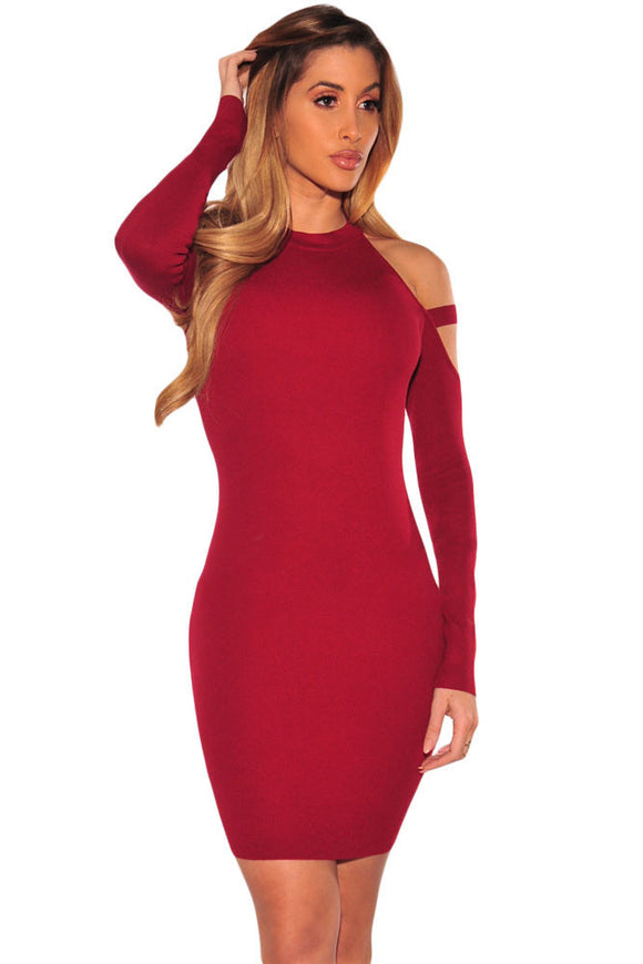 Wine Strappy Cold Shoulder Long Sleeve Mini Dress
