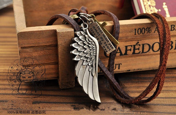 Angel wings fashion sweater necklace male long necklace cowhide rope chain
