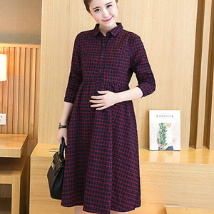 ccc0aa1552c Long Plaid Maternity Dress Clothes Casual Pregnancy Wear Vestidos Clothing  Korean Premama Party Dresses For Pregnant