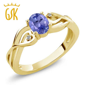GemStoneKing Fashion Twist Ring For Women 0.46 Ct Oval Genuine Blue Tanzanite White Diamond 18K Yellow Gold Plated Silver Ring