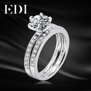 EDI Moissanite Wedding Sets 14K White Gold 1CT Round Lab Grown Diamond Classic Engagement Ring Bridal Wedding Band Fine Jewelry