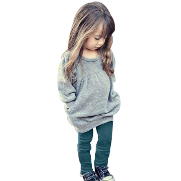 Girl Clothes Winter Warm 2 Pieces Pants and Tops Clothing Sets Long Sleeve Cotton Toddler Girl Clothing roupas meninas