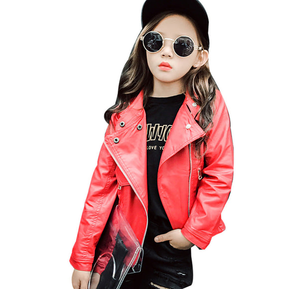 Girls Coat Spring Autumn Baby Kids Girls PU Leather Jacket Children Outwear Girls clothing Coat Clothes drop ship