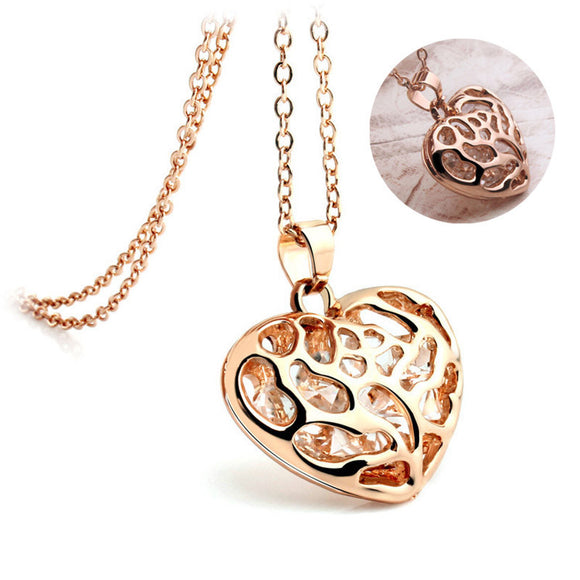 42CM Women Gold & Silver Crystal Rhinestones Heart Pendant Jewelry Necklace love Hollow Necklace Pendant Size:2CM #45