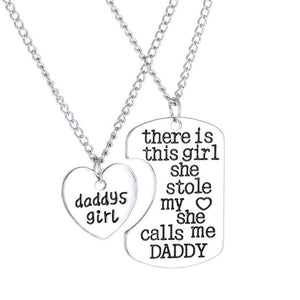 2PC Family Charm Gifts Heart Love Hot Necklace pendant Daughter Dad Mother