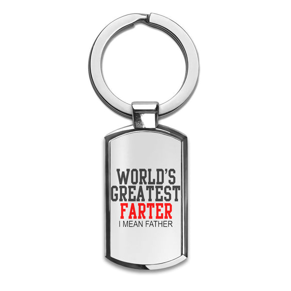 World's Greatest Farter I Mean Father Slogan   Premium Stainless Steel Key Ring| Enjoy A Unique  & Personalized Key Hanger To Carry Your Keys W/ Style| Custom Quality Prints| Household Souvenirs By Styleart