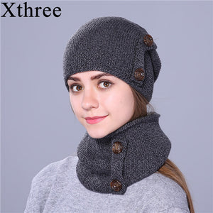 Xthree fashion winter hat for women and men knitted hat beanie hat scarf  brand new thick cap