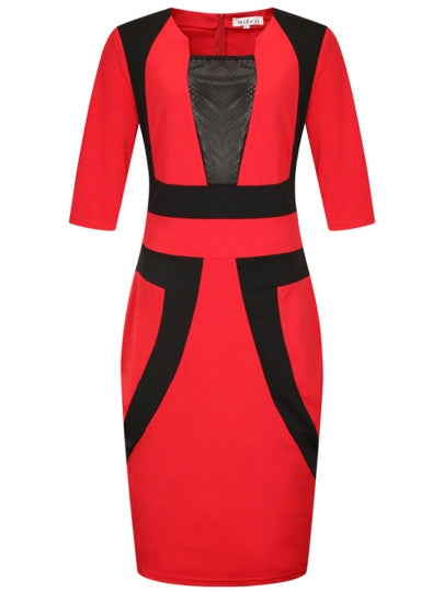 Color Block Plus Size Women's Bodycon Dress