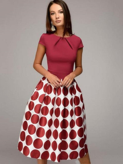 Red Cap Sleeve Polka Dots Women's Day Dress