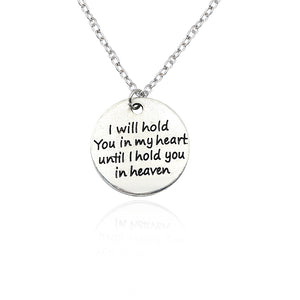 Hand Stamped I Will Hold You In My Heart Until I Hold You In Heaven Necklaces Vintage Couple Statement Necklace For Lovers Gifts