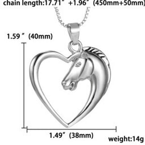 New Fashion Jewelry Gold Plated White Horse In Necklace Heart For Women Gifts