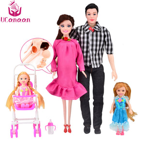 UCanaan New Toys Family 5 People Dolls Suits 1 Mom /1 Dad /2 Little Kelly Girl /1 Baby Son/1 Baby Carriage Real Pregnant Doll