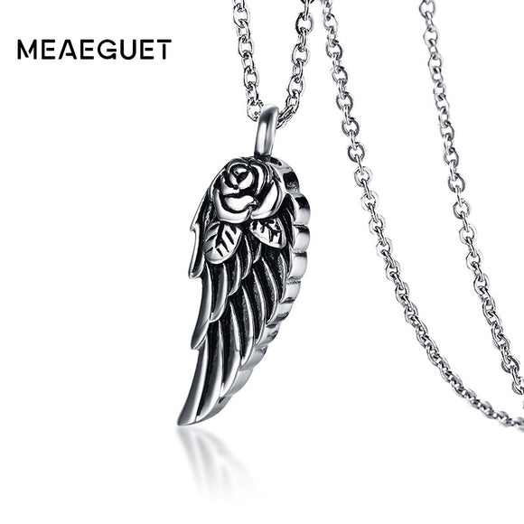Meaeguet Stainless Steel Rose Flower Wing Ash Pendant Cremation Urn Necklace For Women Memorials Pet Casket Jewelry Can be Open