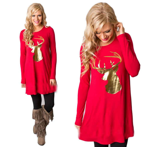Women Fashion  Dress Round Collar Christmas Elk Long Sleeve Casual Dress