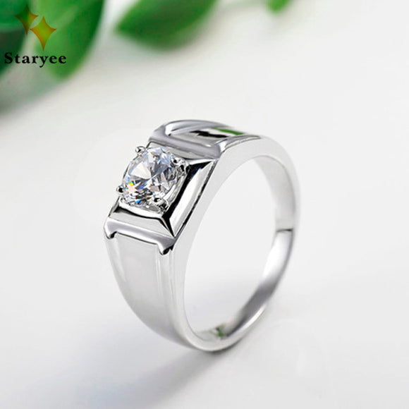 Pure 14K Solid White Gold Moissanite Engagement Rings For Men Certified 0.25 Carat Round Brilliant Cut VVS D Party Gift
