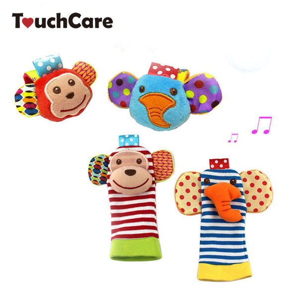 Cute Newborn Soft Cotton Baby Boy Girl Toys Infant Animal Monkey Elephant Handbell Wrist Strap Rattles Socks Foot Plush Toy