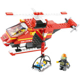BOHS Fire Station Truck Helicopter Firefighters Figures Engine Children Educational Building Block Toy