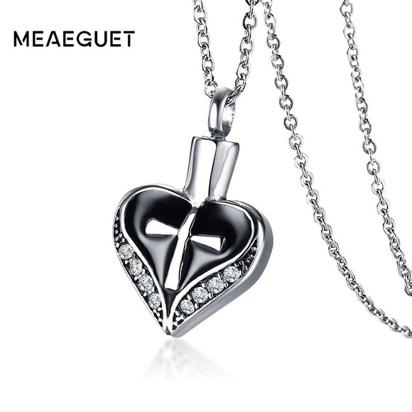 Meaeguet Black Heart Spade Urn Cremation Ashes Pendant Necklaces With Shiny Rhinestones For Women Memorial Keepsake Jewelry