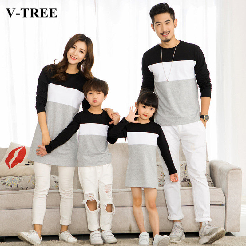 0db9fa6059 V-TREE Family Matching Outfits Mother Daughter Dresses Father Son Matching  Clothes T-shirt Family Look