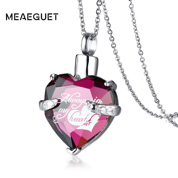 Meaeguet Glass Heart Urn Cremation Ashes Pendant Necklaces For Women Memorial Keepsake Jewelry