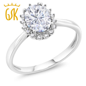 10K White Solid Gold 1.10 Ct Created Moissanite Engagement Ring with Diamonds