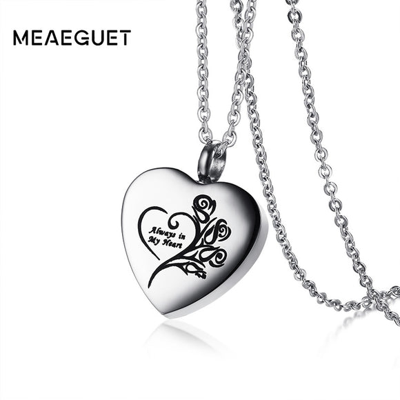 Meaeguet Flower Heart Urn Pendant Cremation Ashes Necklace For Women Memorial Keepsake Jewelry