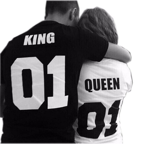 King Letter Print Couple Matching T-shirts Casual Cotton Tees Valentine's Day Gift