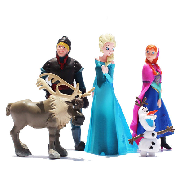 Frozen 5pcs/Lot Disney Elsa Princess Anne Olaf Girl doll toy Preferred Gift Set Dream Closet Olaf Christopher Reindeer Children