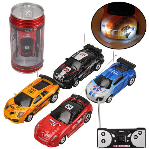 Mini Coke Can Racing Car Toy Micro Electric RC Remote Control Racing Car with LED Light Toy for Baby Boys Birthday Gift