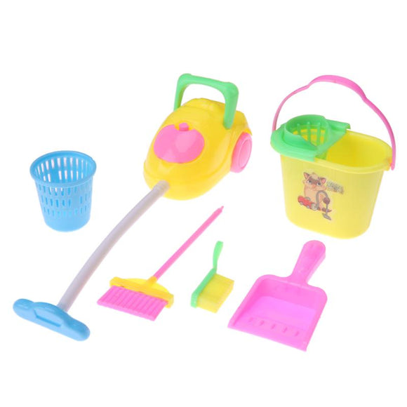 6pcs/Set Boys Girls Sanitary Cleaning Toy Kit Children Educational Housework Pretend Play Plastic Barrel Brush Household Tool