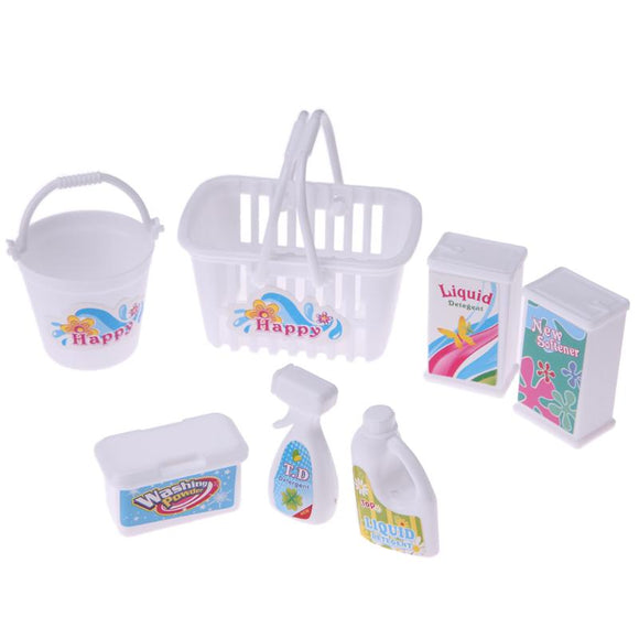 7pcs/Set Doll Accessories Children Role Play Toys Household Cleaning Plastic Barrel Cleaner Tool Boys Girls Pretend Play Toys