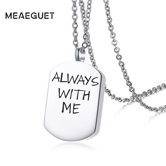 Meaeguet Save Love Cremation Urn Necklace Pendant For Women Stainless Steel Perfume Bottle Ash Holder Keepsake Memorial Jewelry