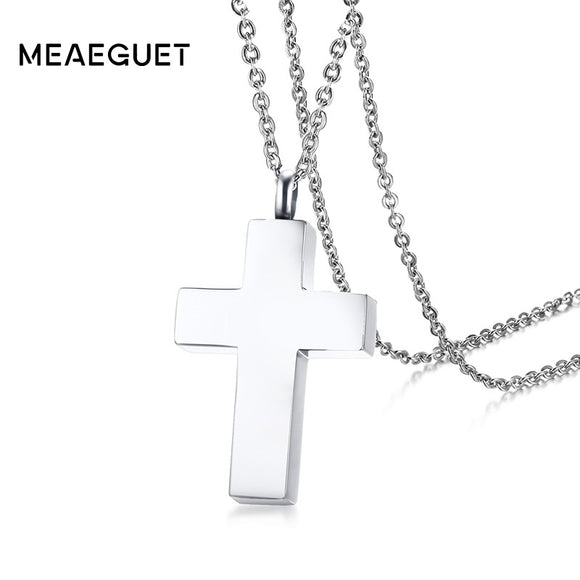 Meaeguet Cross Ash Cremation Urn Necklace Pendant For Women Stainless Steel Holder Keepsake Memorial Jewelry