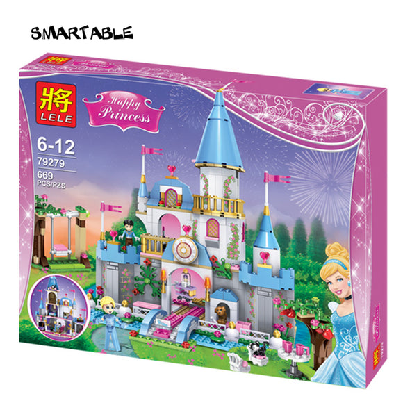 Smartable Girl Friend Princess Building Block Cinderella Romantic Castle 79279 Figure Bricks toys Compatible legoeds friends