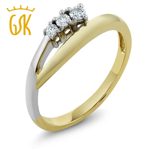 14K Solid Two-Tone Yellow White Gold Three Stone Bypass Diamond 0.25 cttw Ring