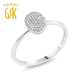 GemStoneKing Solid 10K  White Gold  0.076 CT  Natural White Diamond Solid Oval Engagement Ring For Women