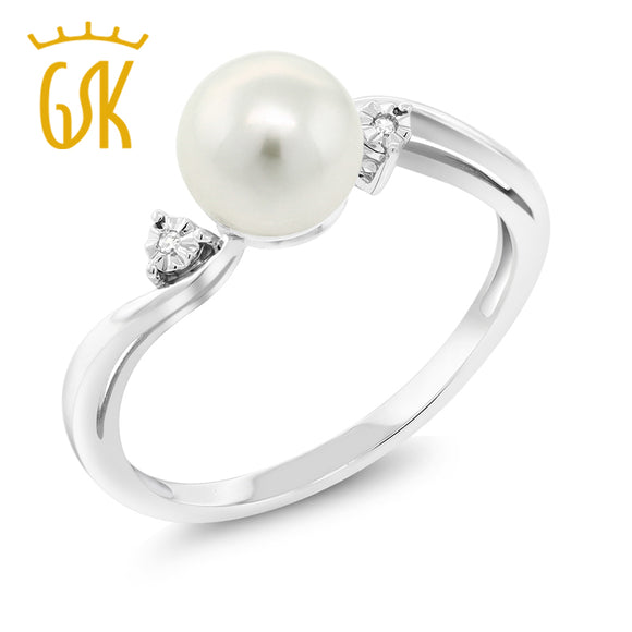 10K White Gold 6mm Cultured Freshwater Pearl  Ring With 0.015 CTW Diamond