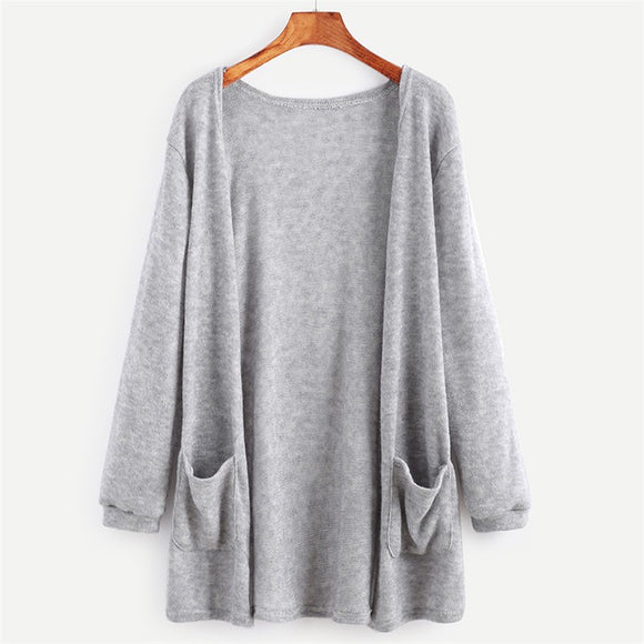 Knitted  Black/Grey Elegant Cardigan